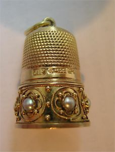 15 CARAT GOLD VICTORIAN THIMBLE 6.2g WITH PEARLS 1892 - cool!