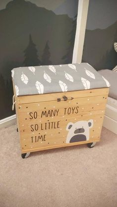 "bear toy This is an upholstered rolling toy bin that reads:""So many toys So little time"" This is a magical and fun toy chest! It's a perfect statment addition for your nursery, childs room, Kids Toy Chest, Diy Kids Furniture, Toy Bins, Diy Bebe, Decorated Jars, Animal Nursery, Bear Toy, Wood Toys, Baby Room Decor"