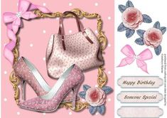 Lovely Pink shoes and Bag  on Craftsuprint designed by Ceredwyn Macrae - A lovely card to make and give to anyone with Lovely Pink Shoes and Bag a lovely card has two greeting tags and a blank one ,  - Now available for download!