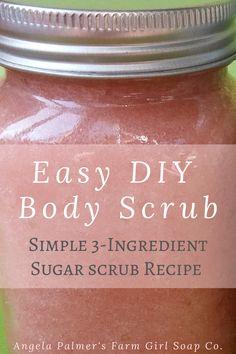 skin care DIY how to use - Simple 3 Ingredient Sugar Scrub Recipe: Easy DIY Body Scrub Body Scrub Recipe, Diy Body Scrub, Sugar Scrub Recipe, Diy Scrub, Natural Body Scrub, Sugar Body Scrubs, Coconut Body Scrubs, Peppermint Sugar Scrubs, Natural Skin