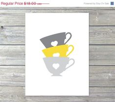 Teacups Kitchen Wall Art Digital Print   Grey and by AldariArt