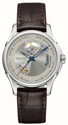 Hamilton Watch Jazzmaster Auto Open Heart Watch available to buy online from with free UK delivery. Brown Leather Strap Watch, Calf Leather, Hamilton Jazzmaster, Skeleton Watches, Automatic Watch, Mens Gift Sets, Stainless Steel Case, Accessories, Heart