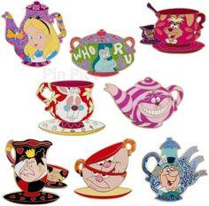 Disney Pins Alice in Wonderland tea set