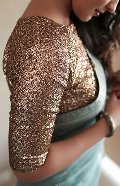 Shimmery blouse designs to glam up your look! Saree Blouse Neck Designs, Fancy Blouse Designs, Bridal Blouse Designs, Gold Blouse, Sari Blouse, Stylish Blouse Design, Stylish Sarees, Anarkali, Lehenga