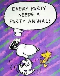 EVERY PARTY NEEDS A PARTY ANIMAL! SNOOPY AND WOODSTOCK, CUT A RUG...