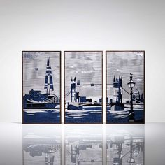 The London Triptych - Revelling the year 2012 when London celebrated the Olympic Games, the London Triptych framed in walnut depicts the River Thames and London's landmarks.