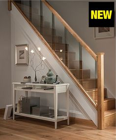 Axxys Reflections Oak and Glass 12 Step Staircase and Landing Balustrade Kit Modern Stairs Axxys Balustrade Glass Kit Landing Oak Reflections Staircase Step House Staircase, Staircase Railings, Staircase Ideas, Banisters, Staircases, Oak Handrail, Glass Stairs, Glass Stair Railing, Glass Bannister