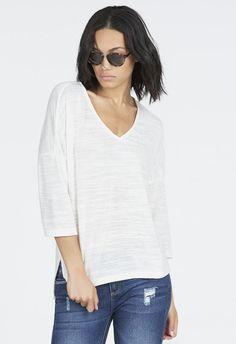 Oversized V-Neck Tee Kleidung in Weiß - günstig kaufen bei JustFab