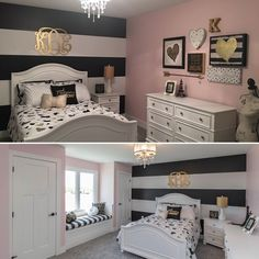 Girls room with black and gold accents. All very affordable. Most of the decor was bought at Hobby Lobby, the At Home Store and bedding is from Target.