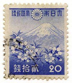 Vintage stamp with Mount Fuji. Japanese Stamp, Japanese Art, Vintage Japanese, Monte Fuji, Postage Stamp Design, Japon Illustration, Art Japonais, Vintage Stamps, Japan Design
