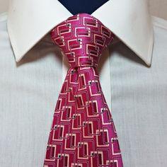 "Savile Row London Neck Tie 60"" L 100% Silk Pink Satin Finish Men's Geometric #SavileRow #NeckTie"