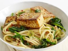 Get Udon with Tofu and Asian Greens Recipe from Food Network