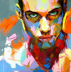 Painting by Françoise Nielly I like how the overall feel of the painting is messy, making it a pop art portrait piece. Art And Illustration, Illustrations, Arte Pop, Pop Art, L'art Du Portrait, Color Portrait, Art Visage, Colorful Paintings, Awesome Paintings