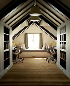 attic..ideal for a book nook to read on window seat wiv cushions n blankets.THen there is the desk n chairs to sit n blog n write reviews :)