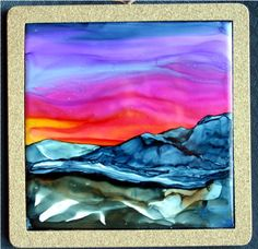 Alcohol Inks on tile by Cindy Howe