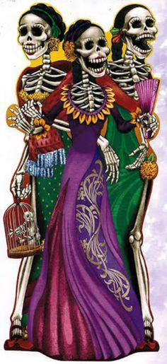 Lifesize poster with 3 awesome smiling women skeletons in beautiful dresses, one holding a skeleton bird in a cage.