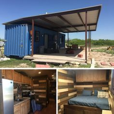 Today I am sharing this tiny shipping container house from Laredo, TX. They built this container house in 2014 for their family ranch and have. Container Home Designs, Tiny Container House, Container Shop, Building A Container Home, Shipping Container House Plans, Sustainable Building Design, Container Architecture, Tiny House Cabin, Modular Homes