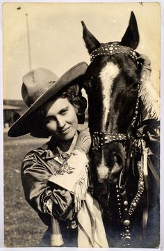 Beautiful Vintage Cowgirl With Her Horse Vintage Photograph 00008 Cowgirl And Horse, Cowboy Up, Cowboy And Cowgirl, Cowgirl Style, Cowboy Song, Cowboy Theme, Cowgirls, Westerns, Cowgirl Photo