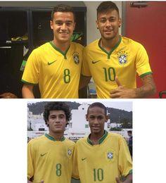 Neymar and Coutinho recreate an old picture [@neymarjr, Instagram]