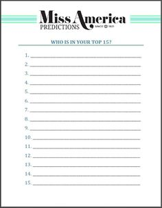 Prediction and scoring sheets for all those attending.  Click link for printable.