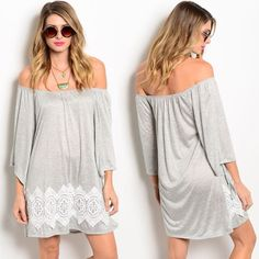 """️PERFECT """"HANGOUT"""" WEARCOMMENT BELOW SIZE Giving the cold shoulder never looked so good in this off the shoulder peasant dress. Features gathered neckline and crochet pant along bottom of dress. This is very lightweight, summer ready. The color is more Heather gray.   PCK5700-6U MADE IN THE USA 65% POLYESTER 35% RAYON Size Scale: S-M-L Size Ratio: 1-0-2  FLAT MEASUREMENTS:  SMALL B: 19"""" W: 21"""" L: 31""""  MED B: 21"""" W: 23"""" L: 32"""" SOLD LARGE B: 22"""" W: 23"""" L: 32.5"""" DIRECT FROM VENDOR, NEW WITHOUT…"""