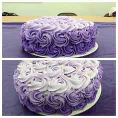 My final cake for my Wilton Course 1--Buttercream rosettes purple ombré