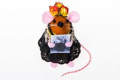Frida Kahlo Mouse ornament artisan felt rat by TheHouseOfMouse