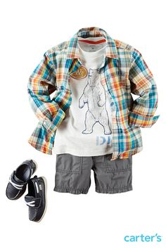 Brand new arrival! Cool shorts, classic graphic tees & button-fronts for a summer to fall layer! Check out hand-drawn graphics, patches and more in this boys shorts collection. Plus, the tees are pre-washed for extra softness. Details busy boys (and moms!) appreciate. Shop more new Carter's outfit bundles now.