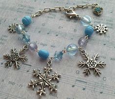 Snowflake Bracelet, Snowflake Jewelry, Frozen Bracelet, Frozen Jewelry, Beaded Bracelet, Beaded Jewelry, Winter Bracelet, Winter Jewelry - pinned by pin4etsy.com