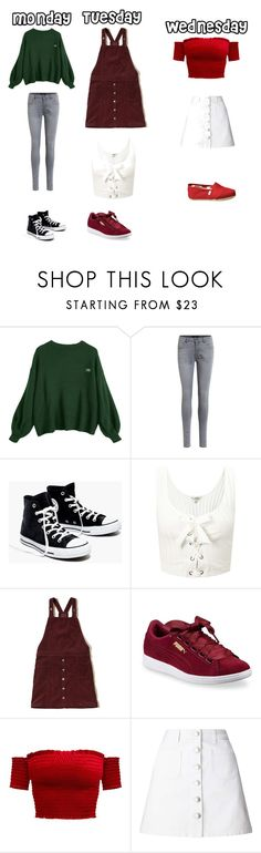 """monday,tuesday,wednesday"" by ottoca on Polyvore featuring Object Collectors Item, Madewell, Miss Selfridge, Hollister Co., Puma and TOMS"