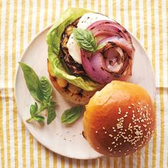 Vegetarian burger alternative: Grilled Eggplant with Melted Mozzarella on Brioche