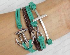 lovely bracelets - anchor leather bracelet cross bracelets green rope brown leather bracelets N015