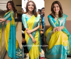 Kajal Aggarwal launched Maangalya shopping mall wearing a yellow and blue combination Kanjeevaram silk saree by the brand. She styled her look with a traditional ruby choker by Jatin Mor Jewellers, neutral makeup and wavy hair! Pattu Sarees Wedding, Designer Sarees Wedding, Bridal Silk Saree, Kanjivaram Sarees Silk, Blue Silk Saree, Kanchipuram Saree, Half Saree Designs, Pattu Saree Blouse Designs, Saree Look