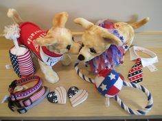 Pamper your patriotic pooch with a red, white, and blue toy, collar, tie, cookie, or tee-shirt! Just in time for the 4th of July!