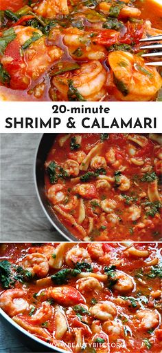 Calamari And Shrimp In Tomato Sauce! This is a delicious and healthy shrimp recipe that you can have ready for dinner in no time! Perfect for weeknight dinner and whenever you don't have many ingredients at home! Fast Easy Meals, Easy Family Meals, Easy Healthy Dinners, Easy Healthy Recipes, Easy Dinner Recipes, Whole Food Recipes, Family Recipes, Clean Eating Recipes For Weight Loss, Clean Eating Meal Plan