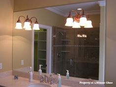 light fixture mounted in mirror