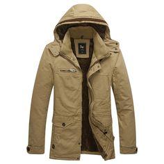 Terciopelo de invierno para hombres Plus al aire libre Chaqueta de abrigo  abrigado con capucha y 68e4f8e3e862
