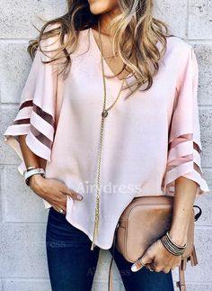 V Neck Flared Sleeves Mesh Patchwork Shirts Summer Plus Size Casual Loose Mesh Women Blouse Pink Street Womens Tops Blouses Plus Size Casual, Plus Size Tops, Tunic Shirt, Shirt Blouses, Kimono Cardigan, Pink Street, Holiday Blouses, Cooler Look, Loose Tops