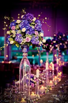 #purple #lavender #pink #indoor #wedding #reception #tablescape #floral #arrangement #flower #decor #table #centerpiece