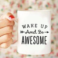 Kubek biały WAKE UP AND BE AWESOME w Lawendowy Bazar na DaWanda.com