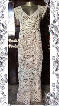 * Pérolas do Crochet: Vestido longo em crochet