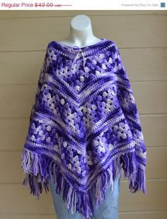 ON SALE Vintage 1970's Poncho Hippie Boho by founditinatlanta, $37.80