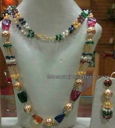 Nakshi work floral design gold balls and multi colors triangle design beads drops combination light weight beads necklace sets.