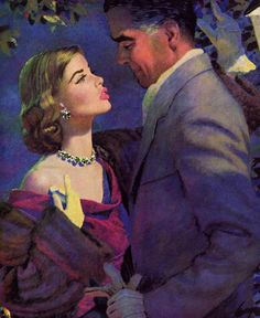 """the-art-of-romance:    Grace was standing on tiptoe, looking up at him. """"Do you want to kiss me goodnight?"""" she said?  Illustration by Edwin Georgi."""