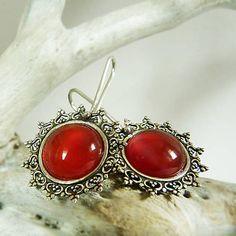 by_gabriela / Silver earring, carnelian