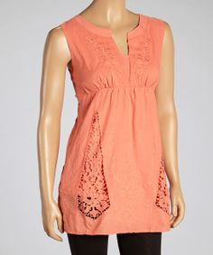 Take a look at the Papaya Cutout Embroidered Top on #zulily today!