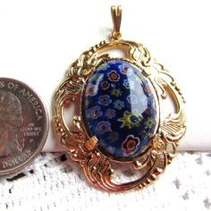 Millefiore Glass Cabochon 18x25mm in by SaraJewelryDesign on Etsy, $14.99