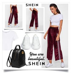"""Shein Contest (Striped Tape Side Velvet Wide Leg Pants)"" by beerrks ❤ liked on Polyvore featuring Robert Clergerie, RE/DONE, Gucci, contest, shein and StripedTapeSideVelvetWideLegPants"