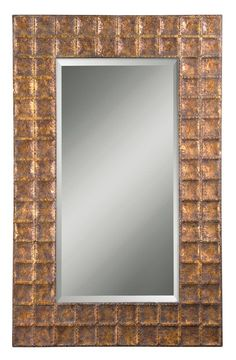 Uttermost 12643 B Gavino Beveled Mirror With Grid Hammered Metal Frame Antiqued Gold With Brown Glaze Home Decor Mirrors Lighting