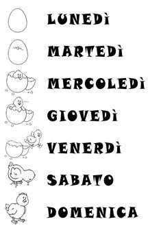 La settimana del pulcino Italian Language, Circle Time, First Grade, Kids And Parenting, Worksheets, Activities For Kids, Homeschool, Classroom, Math Equations